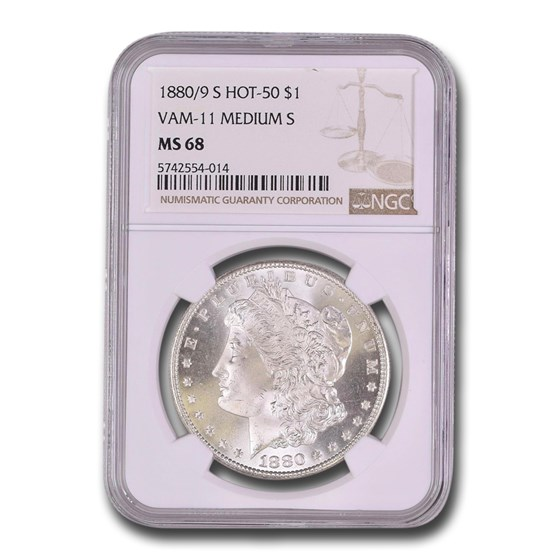 1880/9-S Morgan Dollar MS-68 NGC (VAM-11, 0/9 Overdate Hot-50)