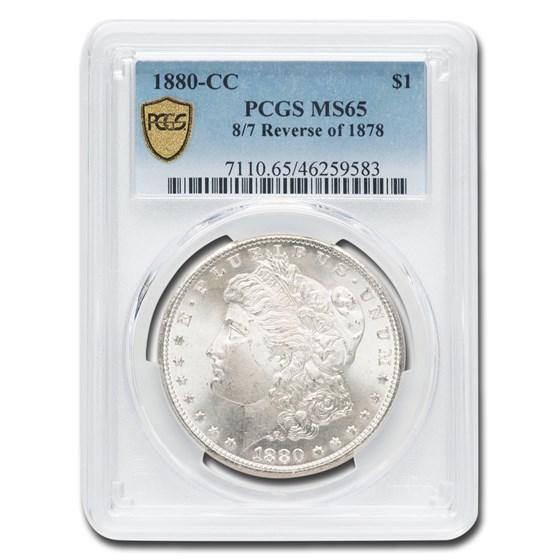 1880-CC 8/7 Rev of 78 Morgan Dollar MS-65 PCGS