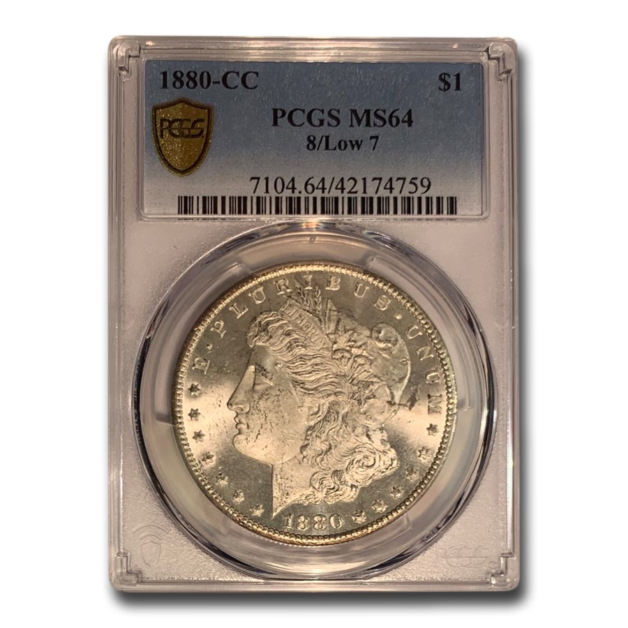 1880-CC Morgan Dollar 8/7 High 7 Morgan Dollar MS-64 PCGS