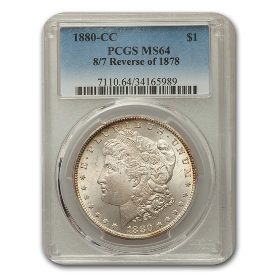1880-CC Morgan Dollar 8/7 Morgan Dollar Rev of 78 MS-64 PCGS