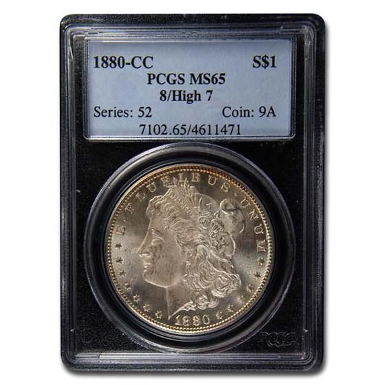1880-CC Morgan Dollar 8/High 7 Morgan Dollar MS-65 PCGS