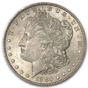 1880-CC Morgan Dollar 80/79 Rev of 78 MS-62, (Vam-4, Top-100)