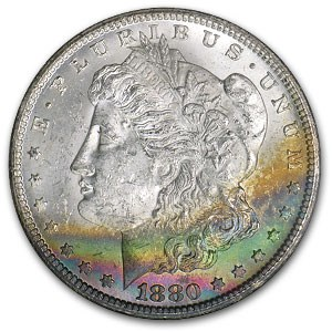 1880-CC Morgan Dollar MS-62 (Rainbow Crescent Obv, GSA Holder)