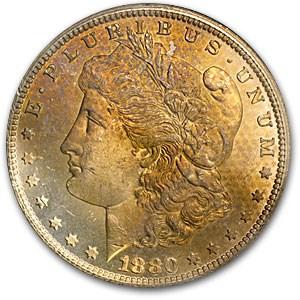 1880-CC Morgan Dollar MS-63 NGC (GSA, Obv Textile Toning)