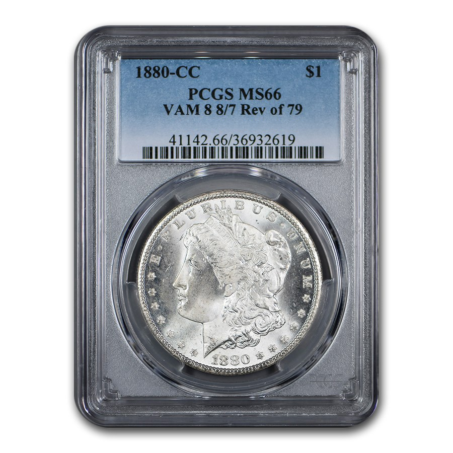 1880-CC Morgan Dollar MS-66 PCGS (VAM 8, 8/7 Rev of 79)