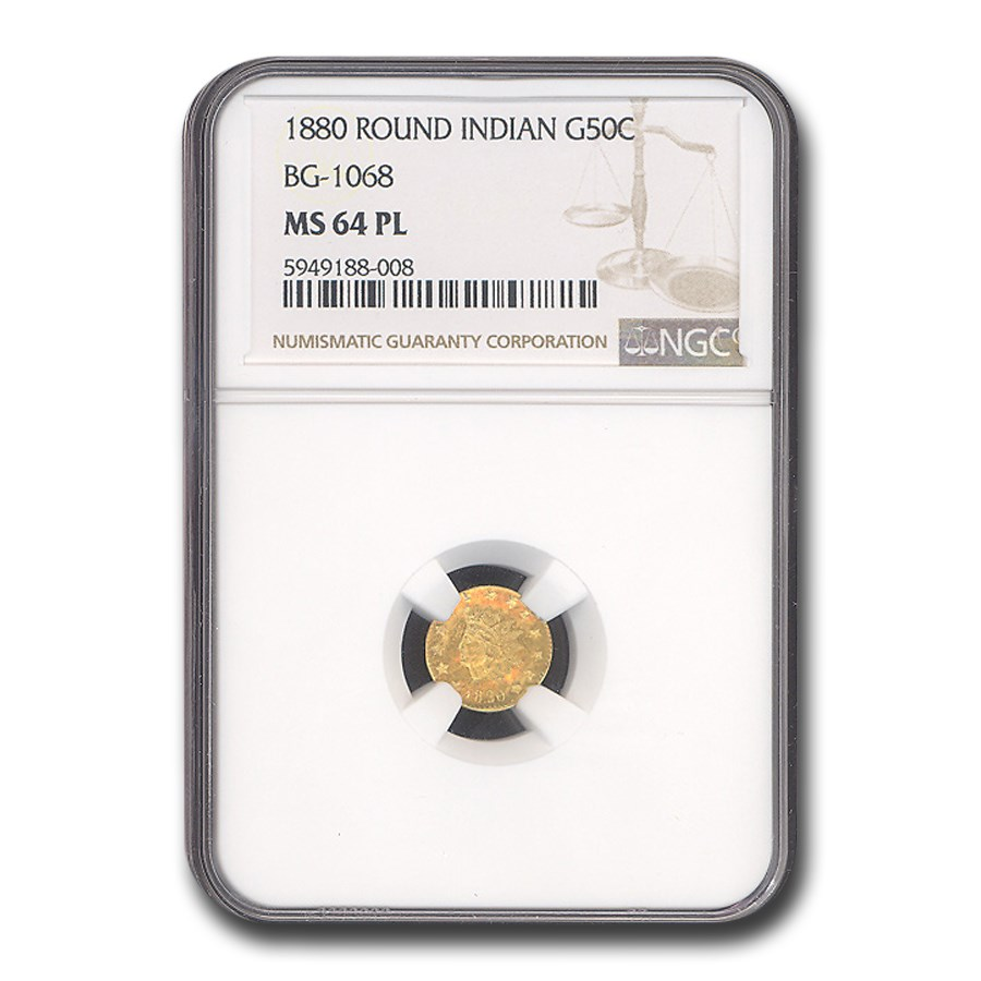 1880 Indian Round 50 Cent Gold MS-64 NGC (PL)