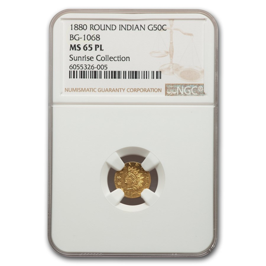1880 Indian Round 50 Cent Gold MS-65 NGC (PL, BG-1068)