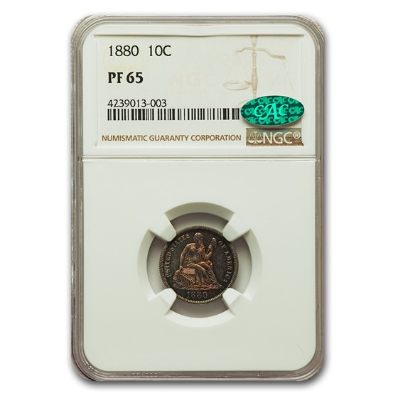 1880 Liberty Seated Dime PF-65 NGC CAC