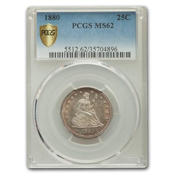 1880 Liberty Seated Quarter MS-62 PCGS