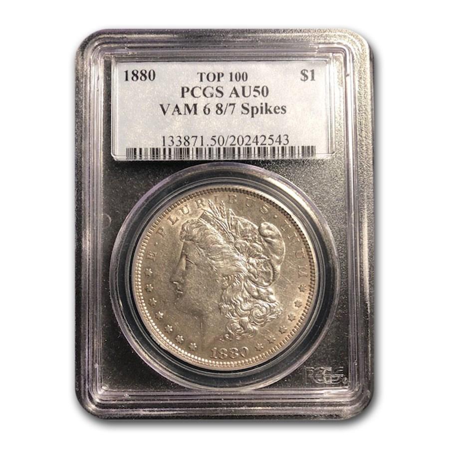 1880 Morgan Dollar 8/7 AU-50 PCGS (VAM-6)