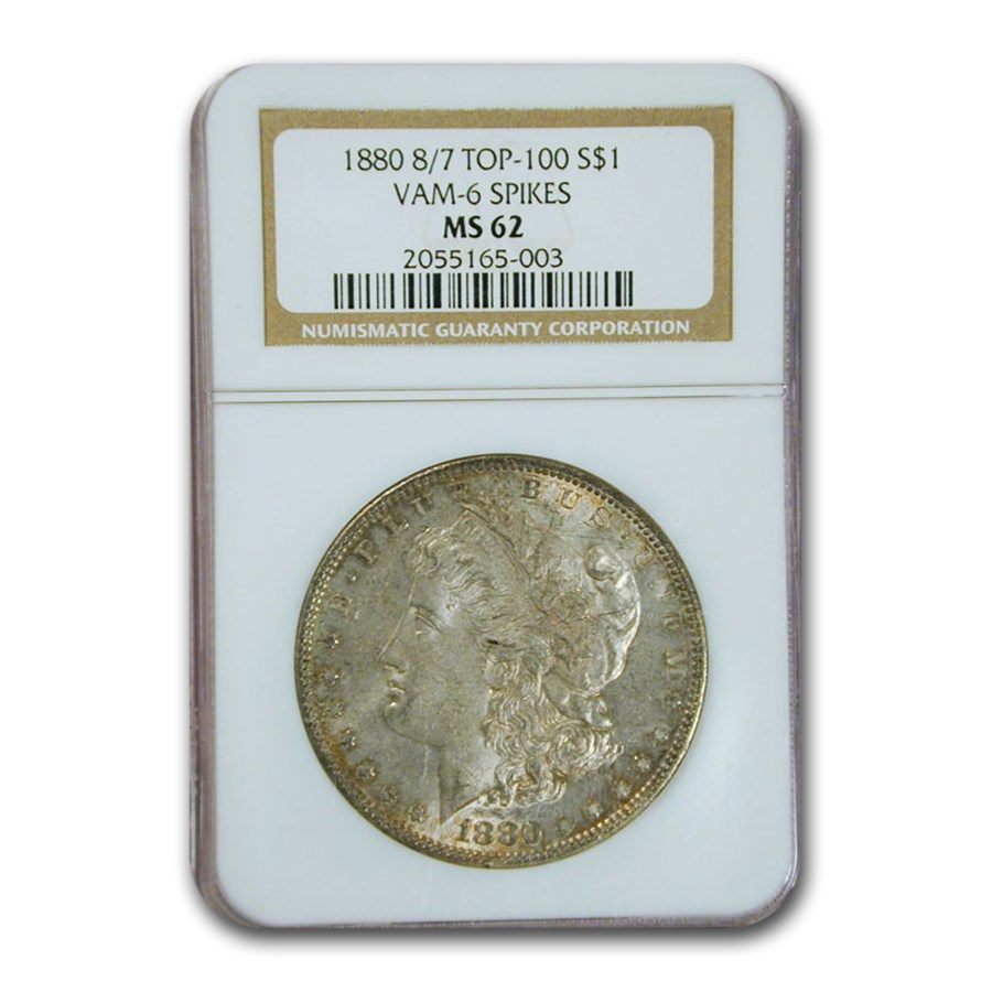 1880 Morgan Dollar 8/7 MS-62 NGC (VAM-6 Spikes, Top 100)