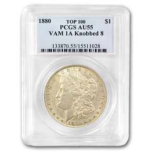 1880 Morgan Dollar AU-55 PCGS (VAM-1A, Knobbed 8, Top-100)