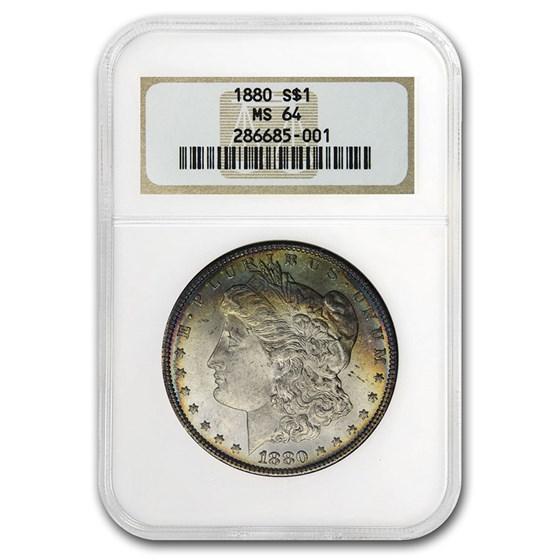 1880 Morgan Dollar MS-64 NGC (Old Gen Holder, Beautifully Toned)