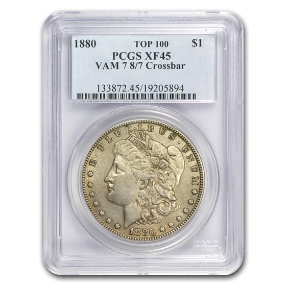 1880 Morgan Dollar XF-45 PCGS (VAM-7, 8 over 7 Crossbar)