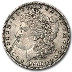 1880 Morgan Dollar XF (Obv Strike-thru)