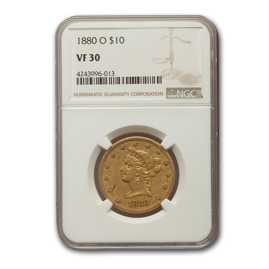 1880-O $10 Liberty Gold Eagle VF-30 NGC