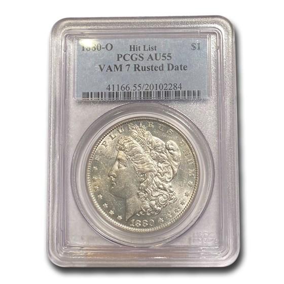 1880-O Morgan Dollar AU-55 PCGS (VAM 7 Rusted Date)