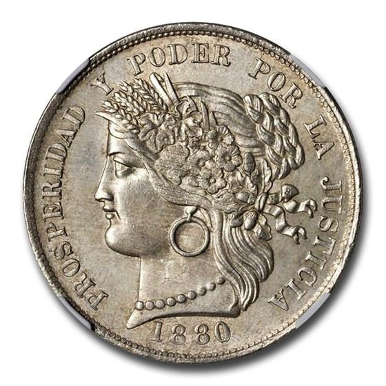 1880 Peru 5 Pesetas MS-64 NGC