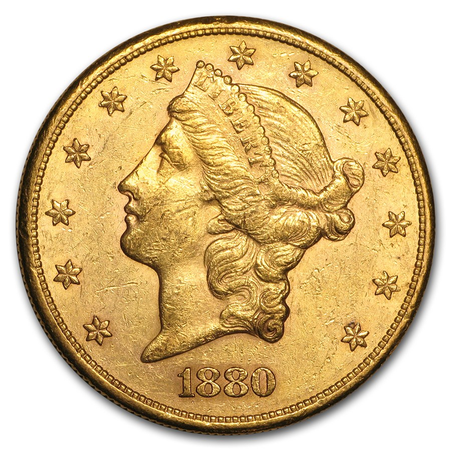 1880-S $20 Liberty Gold Double Eagle AU