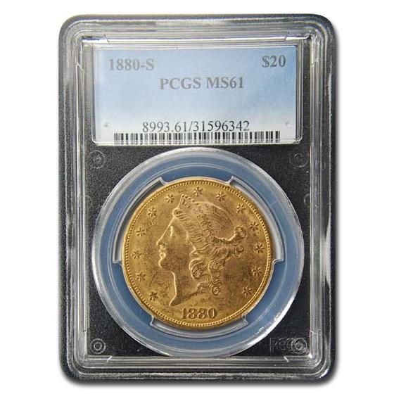 1880-S $20 Liberty Gold Double Eagle MS-61 PCGS