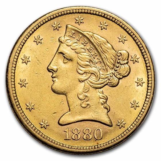 1880-S $5 Liberty Gold Half Eagle AU