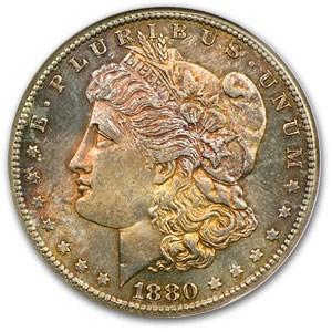 1880-S Morgan Dollar MS-62 NGC (Flashy Obv Toning)