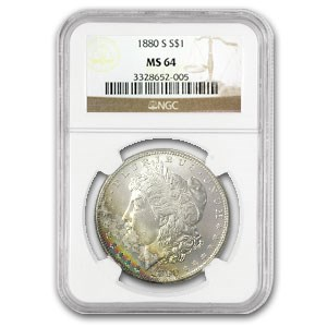 1880-S Morgan Dollar MS-64 NGC (Vibrant Rainbow Obv)
