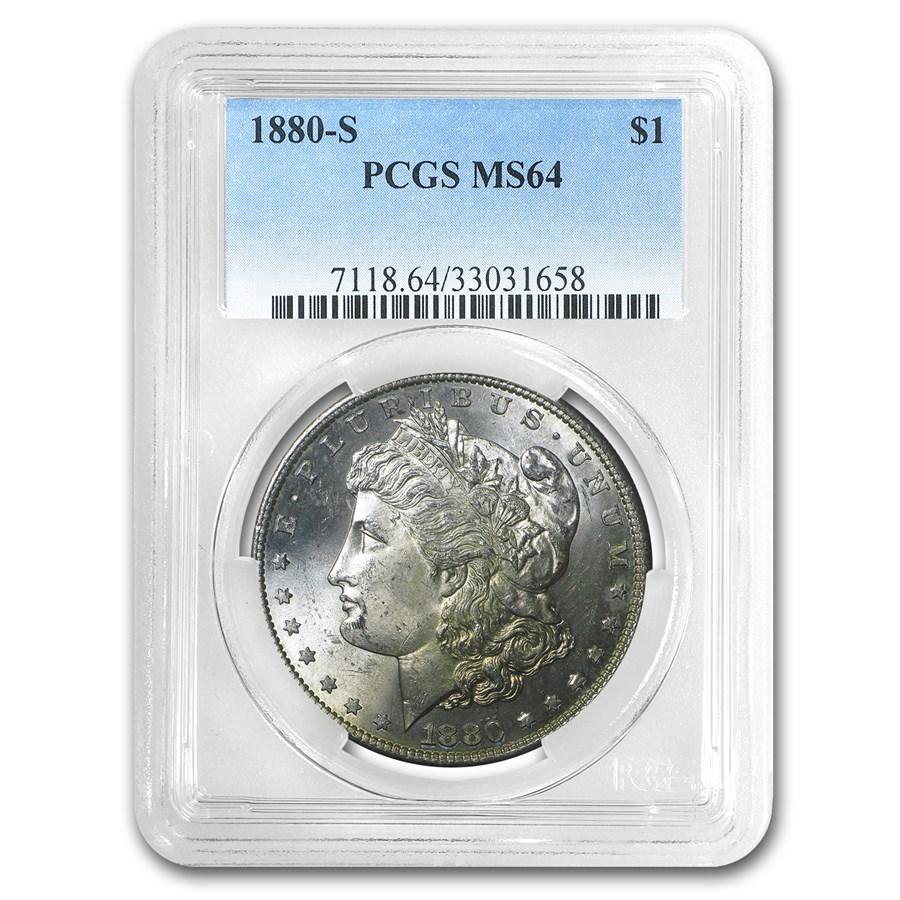 1880-S Morgan Dollar MS-64 PCGS (Golden Obv Crest)