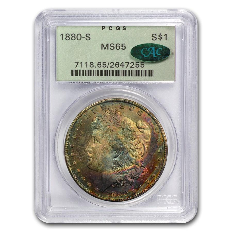 1880-S Morgan Dollar MS-65 PCGS (CAC, Blue & Pink Toning)