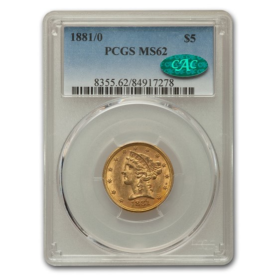 1881/0 $5 Liberty Gold Half Eagle MS-62 PCGS CAC