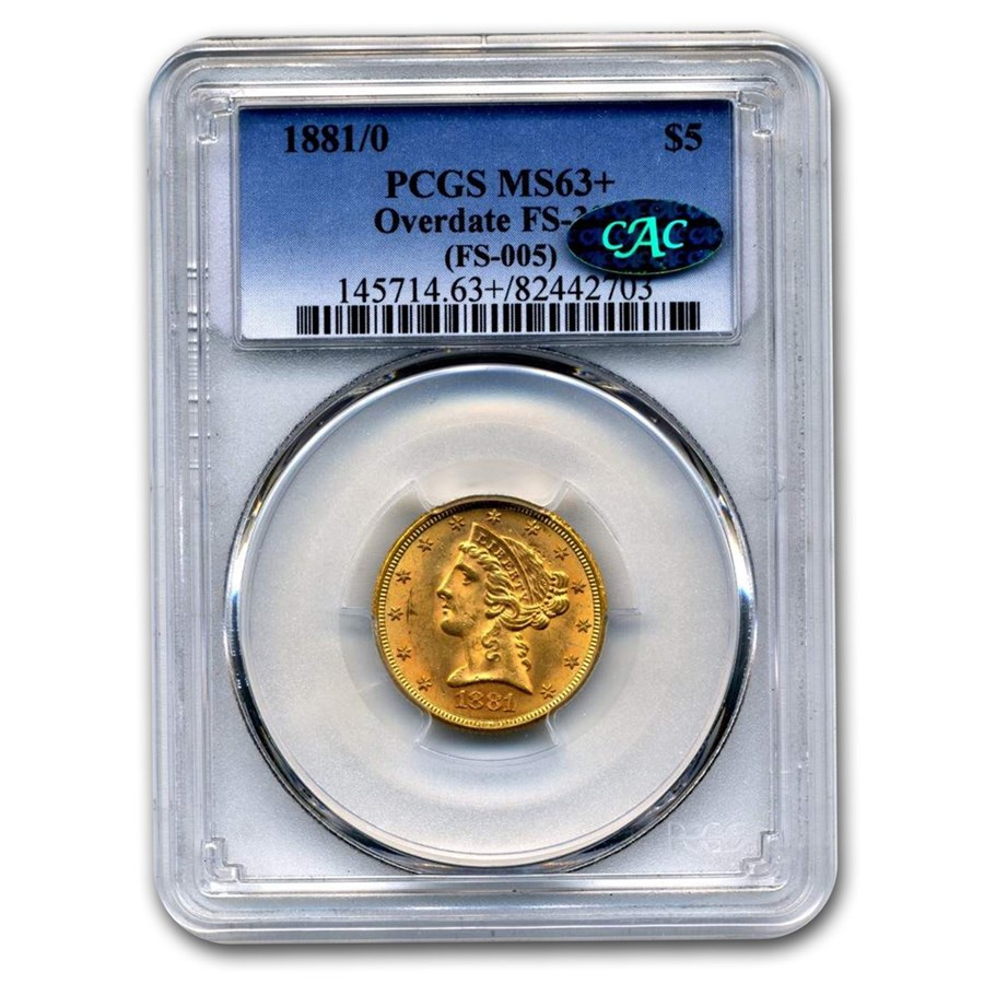 1881/0 $5 Liberty Gold Half Eagle MS-63+ PCGS CAC (FS-005)