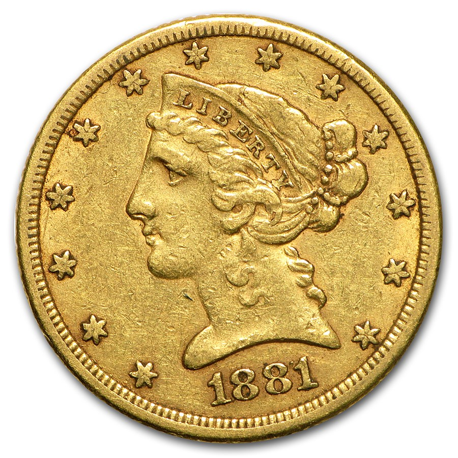 1881/0 $5 Liberty Gold Half Eagle XF (FS-304)