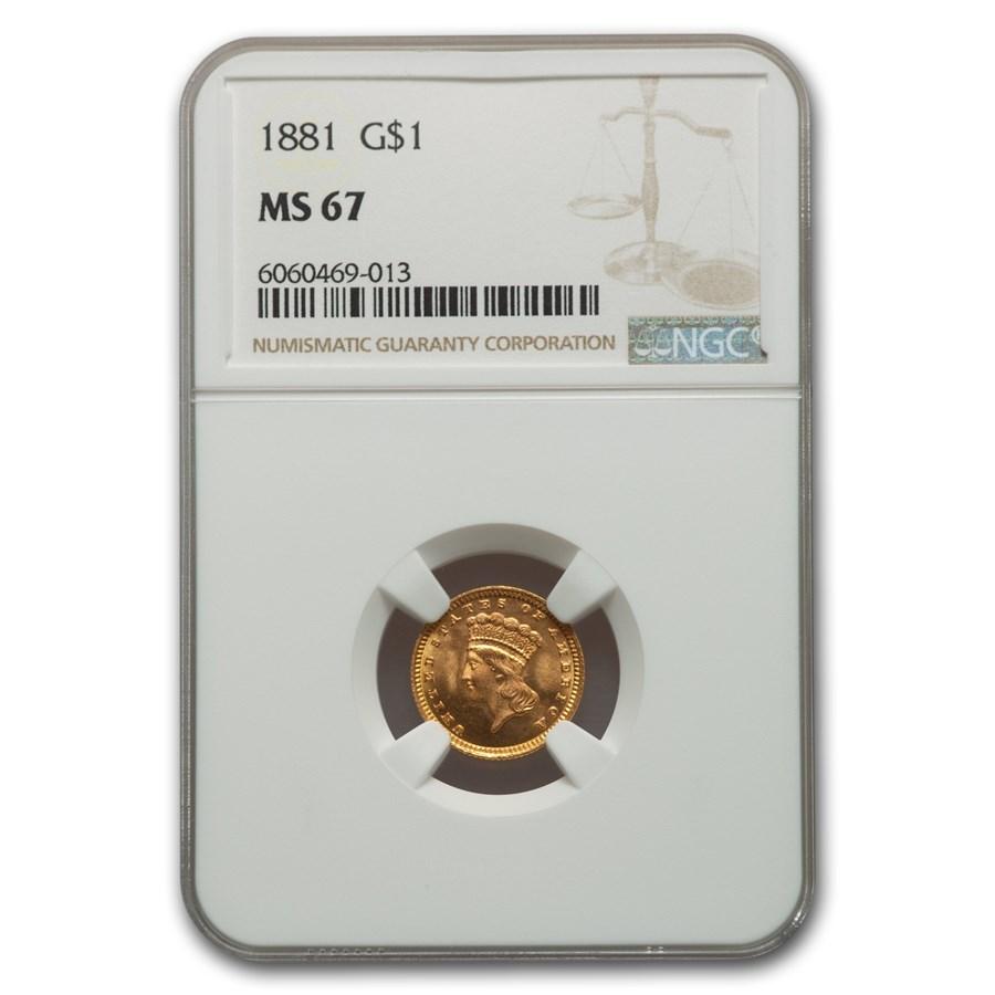 1881 $1 Indian Head MS-67 NGC