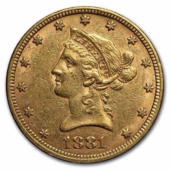 1881 $10 Liberty Gold Eagle AU