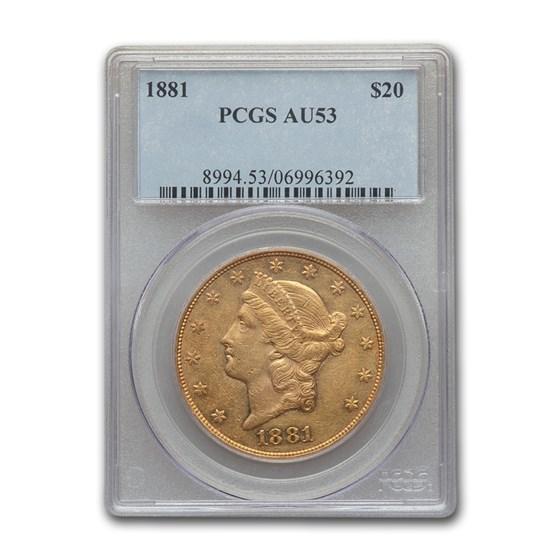 1881 $20 Liberty Gold Double Eagle AU-53 PCGS