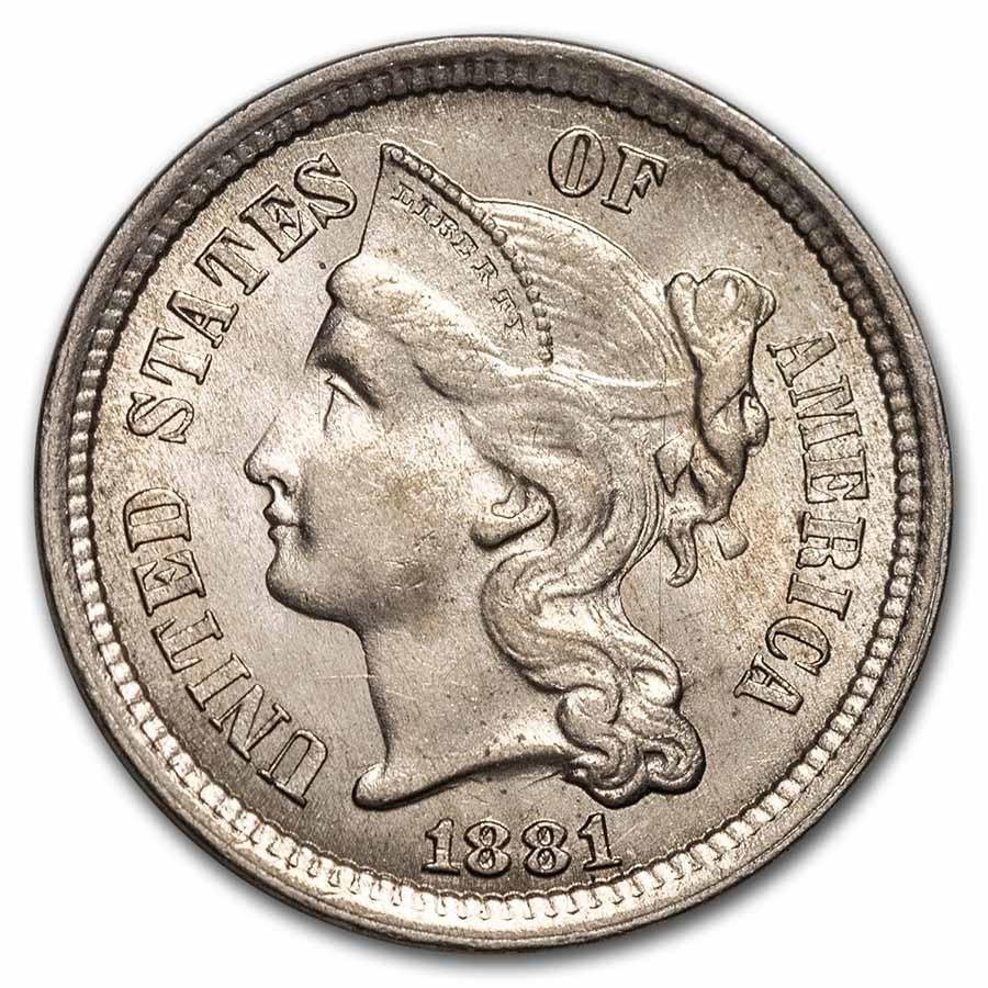 1881 3 Cent Nickel BU