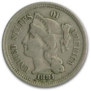1881 3 Cent Nickel VF