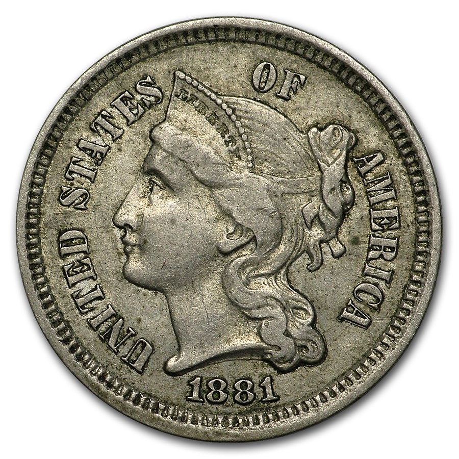 1881 3 Cent Nickel XF