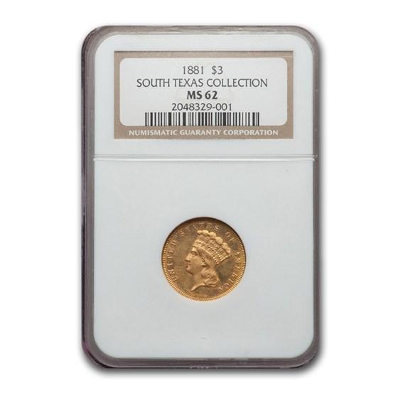 1881 $3 Gold Princess MS-62 NGC