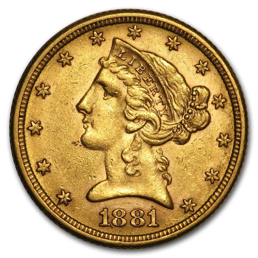 1881 $5 Liberty Gold Half Eagle AU