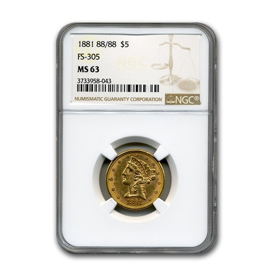 1881 $5 Liberty Gold Half Eagle MS-63 NGC ( 88/88, FS-305)