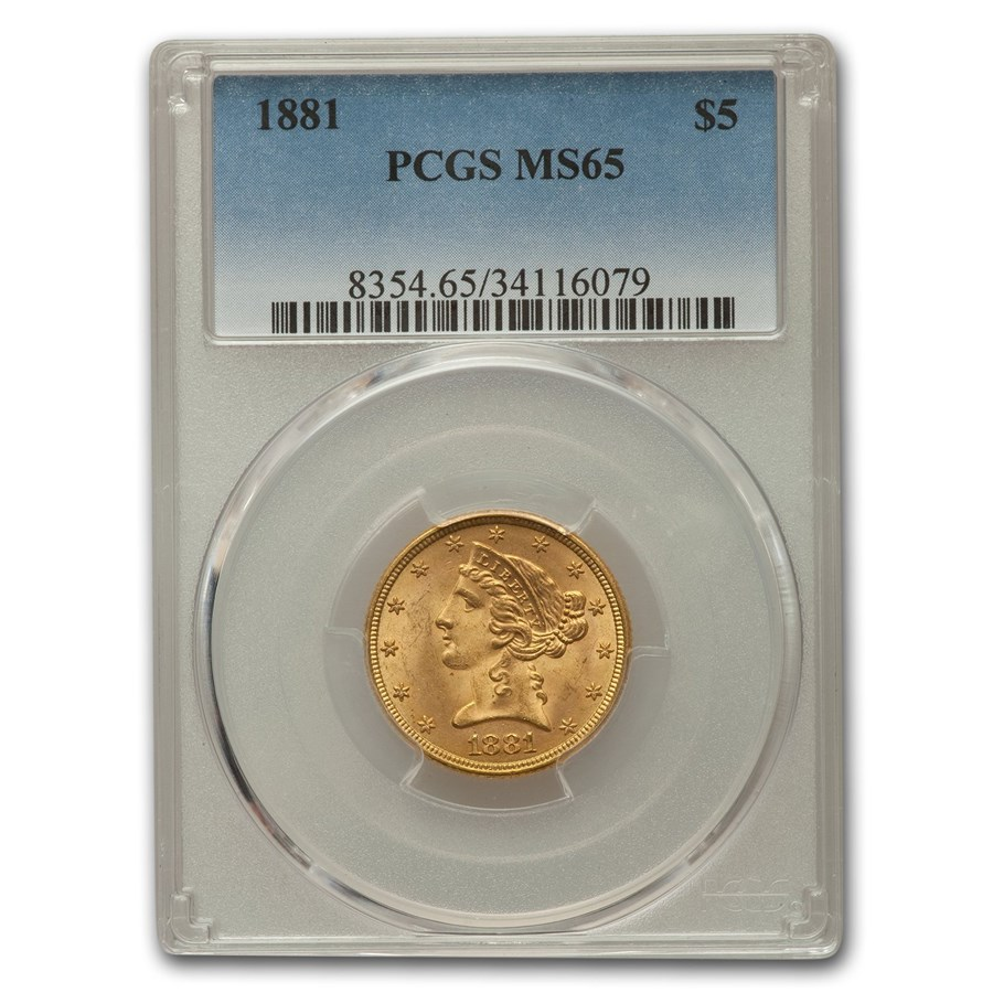 1881 $5 Liberty Gold Half Eagle MS-65 PCGS
