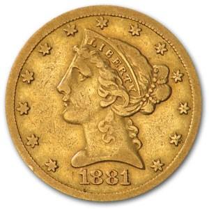 1881/80 $5 Liberty Gold Half Eagle XF (FS-301)