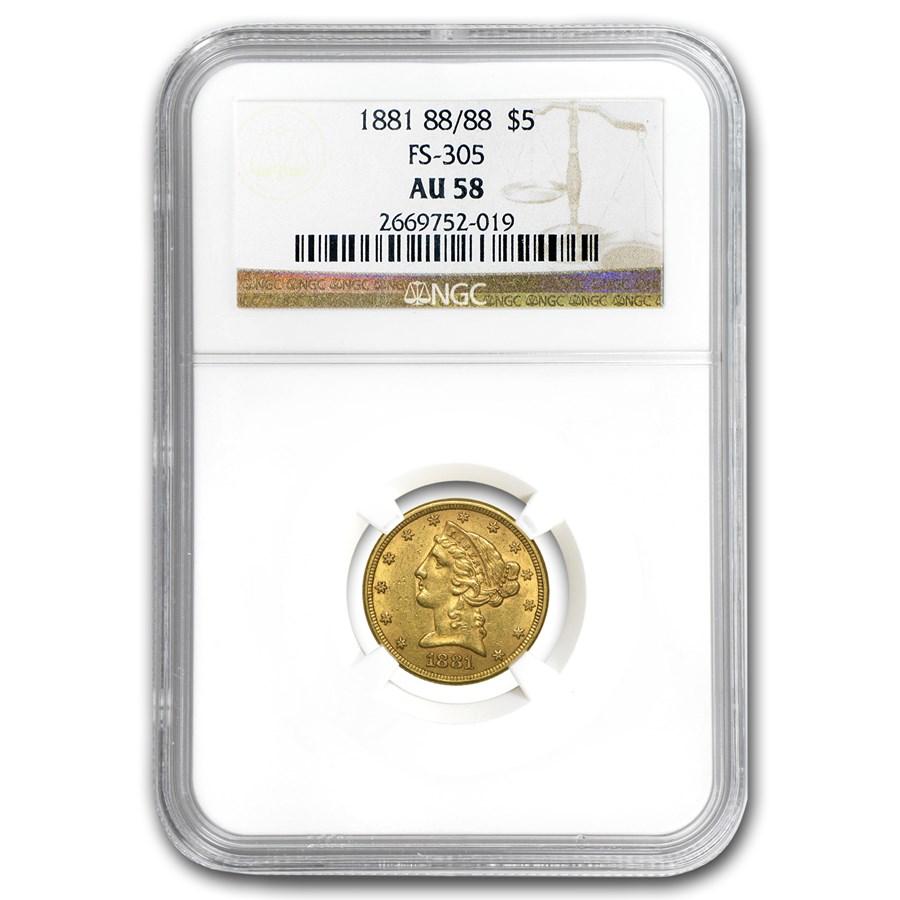 1881 88/88 $5 Liberty Gold Half Eagle AU-58 NGC (RPD FS-305)