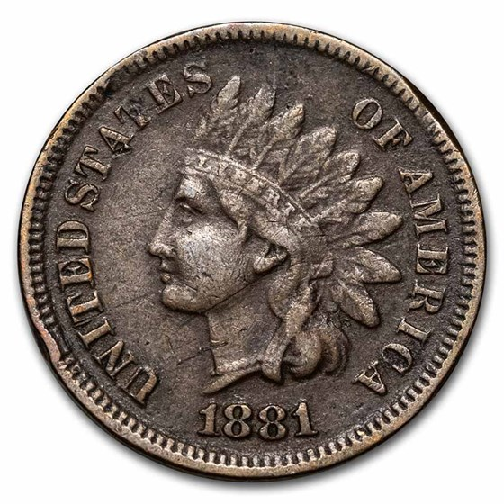 1881 Indian Head Cent VF (Cleaned, Corroded or Dmgd)