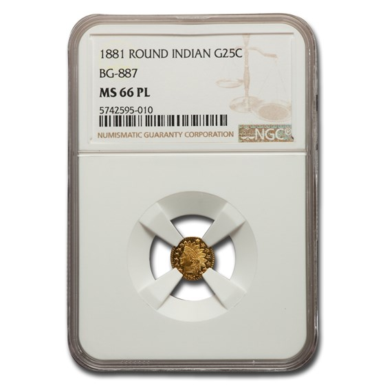 1881 Indian Round 25 Cent Gold MS-66 NGC (PL, BG-887)