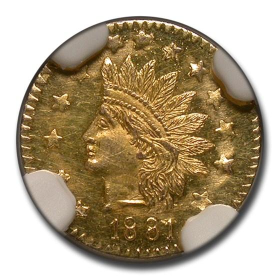1881 Indian Round 50 Cent Gold MS-62 NGC (DPL, BG-1070)