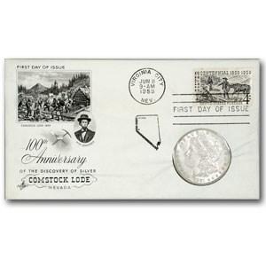 1881 Morgan Dollar AU (Comstock Lode 100th Anniv FDC)