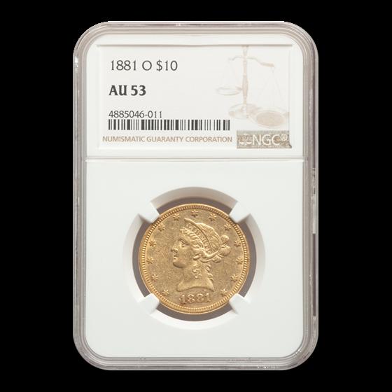 1881-O $10 Liberty Gold Eagle AU-53 NGC