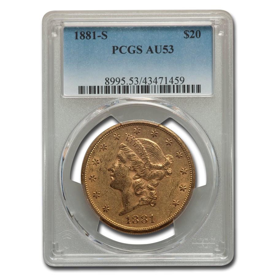 1881-S $20 Liberty Gold Double Eagle AU-53 PCGS
